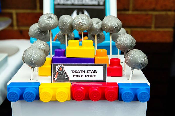 Death Star Cake Pops from a Lego Star Wars Birthday Party via Kara's Party Ideas | KarasPartyIdeas.com | The Place for All Things Party! (14)