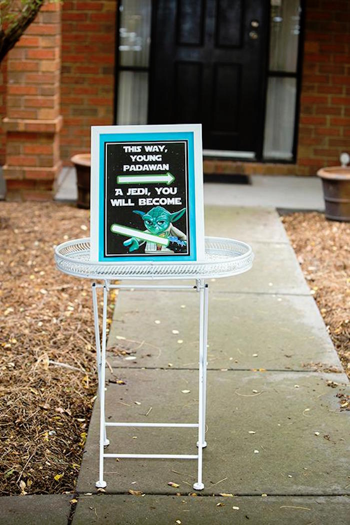 Entrance Sign from a Lego Star Wars Birthday Party via Kara's Party Ideas | KarasPartyIdeas.com | The Place for All Things Party! (9)
