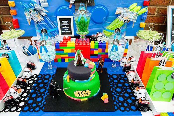 Cake + Sweet Tabletop from a Lego Star Wars Birthday Party via Kara's Party Ideas | KarasPartyIdeas.com | The Place for All Things Party! (25)