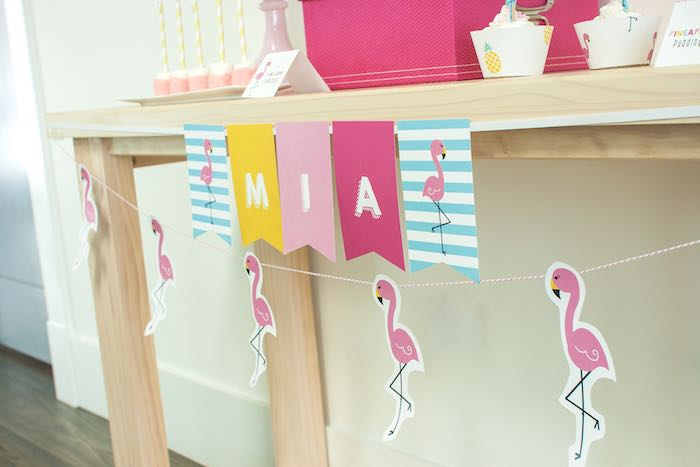 Table Banners from a Let's Flamingle! Flamingo Birthday Bash via Kara's Party Ideas | KarasPartyIdeas.com | The Place for All Things Party! (27)