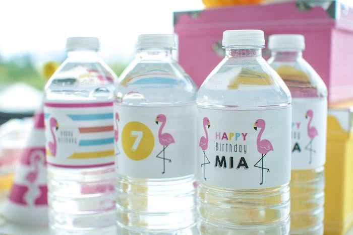 Water Bottles from a Let's Flamingle! Flamingo Birthday Bash via Kara's Party Ideas | KarasPartyIdeas.com | The Place for All Things Party! (24)