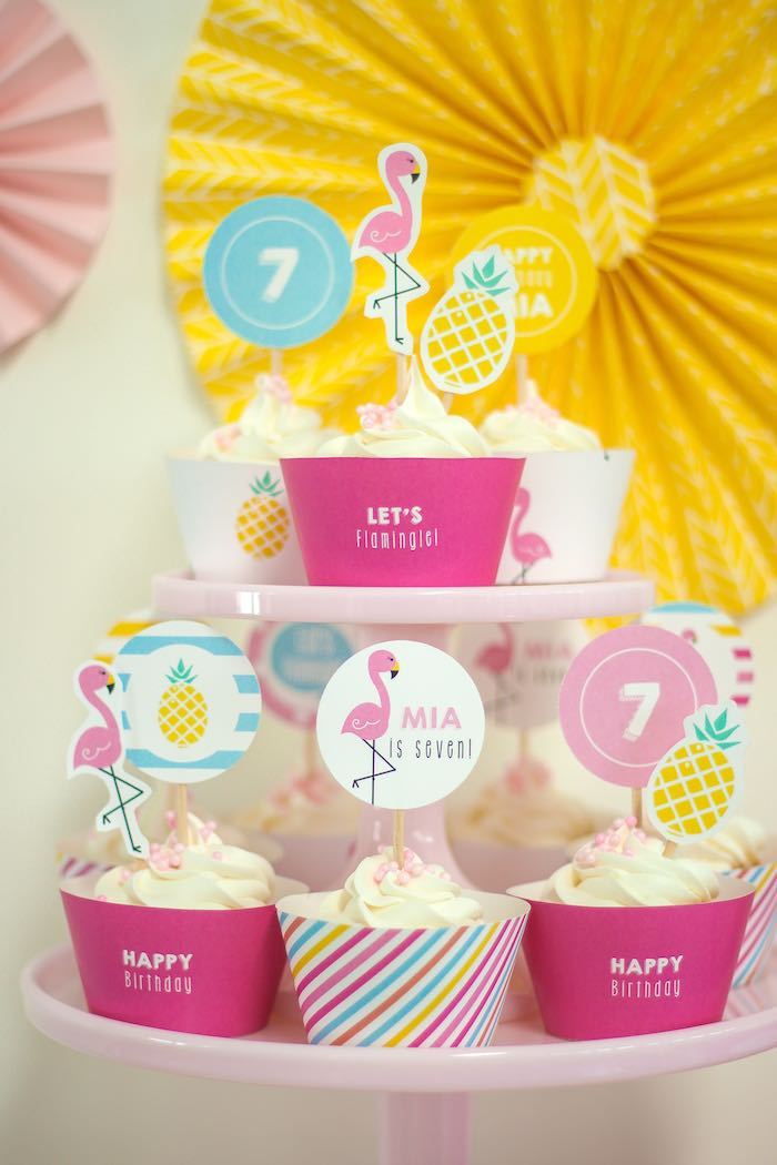 Cupcakes from a Let's Flamingle! Flamingo Birthday Bash via Kara's Party Ideas | KarasPartyIdeas.com | The Place for All Things Party! (37)