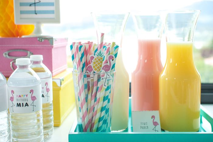 Drink Station from a Let's Flamingle! Flamingo Birthday Bash via Kara's Party Ideas | KarasPartyIdeas.com | The Place for All Things Party! (17)