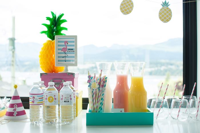 Drink Station from a Let's Flamingle! Flamingo Birthday Bash via Kara's Party Ideas | KarasPartyIdeas.com | The Place for All Things Party! (16)
