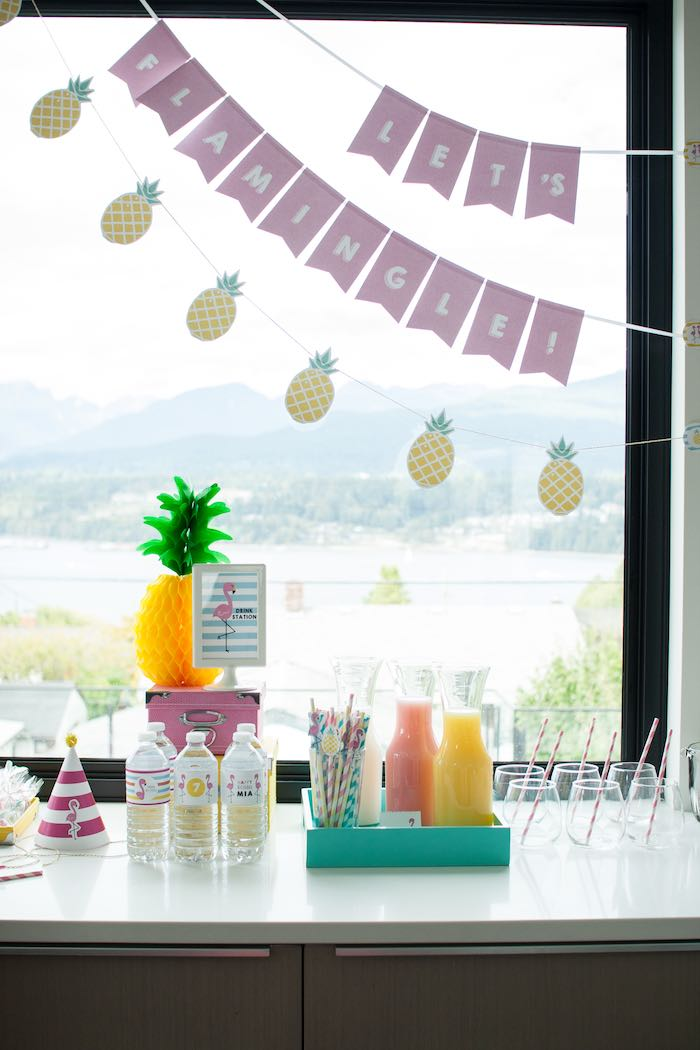 Drink Station from a Let's Flamingle! Flamingo Birthday Bash via Kara's Party Ideas | KarasPartyIdeas.com | The Place for All Things Party! (15)