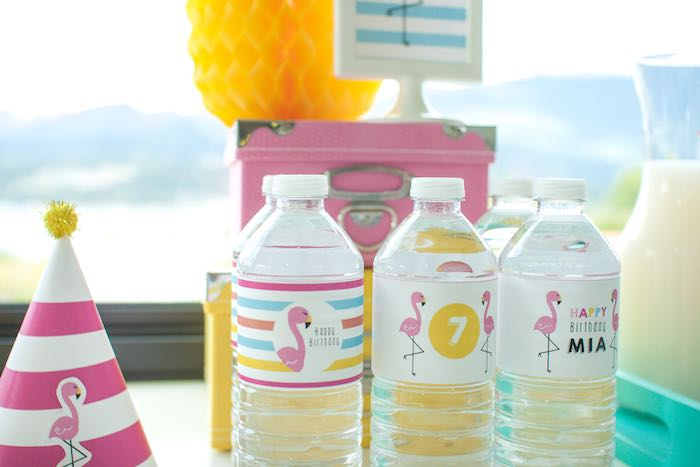 Water Bottles from a Let's Flamingle! Flamingo Birthday Bash via Kara's Party Ideas | KarasPartyIdeas.com | The Place for All Things Party! (14)