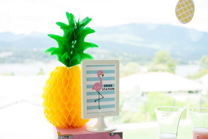 Drink Station Decor from a Let's Flamingle! Flamingo Birthday Bash via Kara's Party Ideas | KarasPartyIdeas.com | The Place for All Things Party! (13)