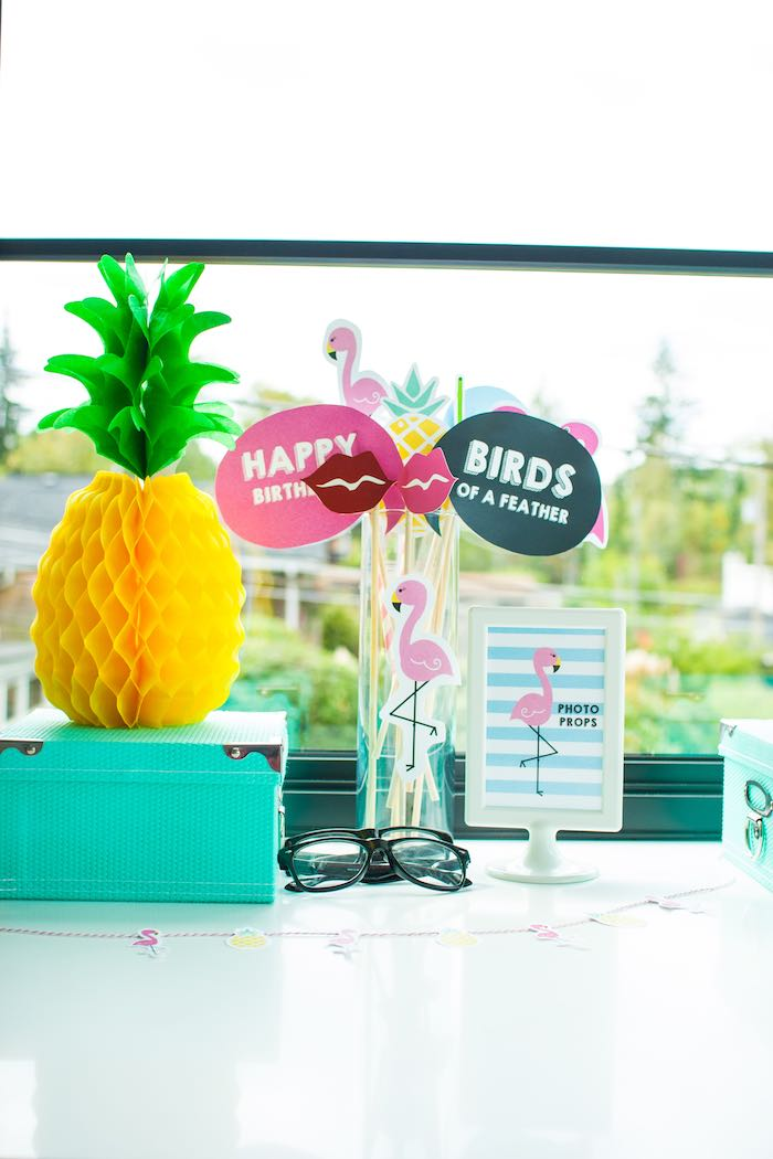 Photo Props from a Let's Flamingle! Flamingo Birthday Bash via Kara's Party Ideas | KarasPartyIdeas.com | The Place for All Things Party! (10)