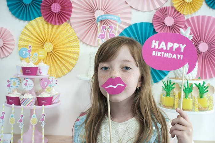 Photo Op from a Let's Flamingle! Flamingo Birthday Bash via Kara's Party Ideas | KarasPartyIdeas.com | The Place for All Things Party! (5)