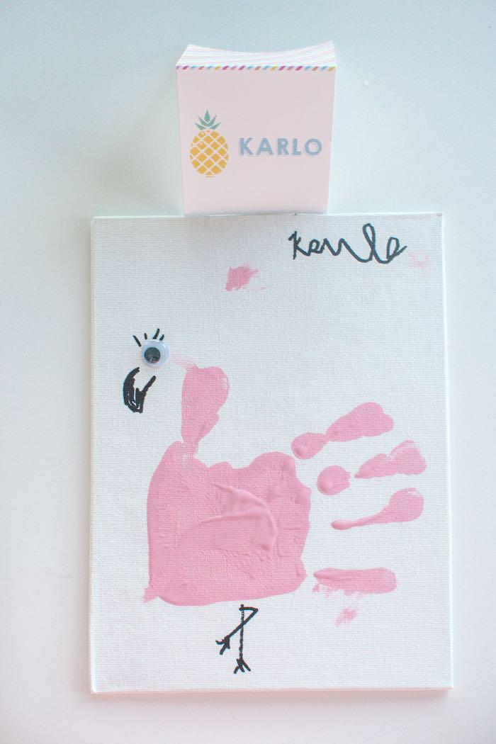 Handprint Flamingo from a Let's Flamingle! Flamingo Birthday Bash via Kara's Party Ideas | KarasPartyIdeas.com | The Place for All Things Party! (4)