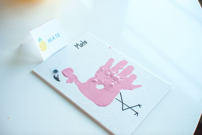 Handprint Flamingo from a Let's Flamingle! Flamingo Birthday Bash via Kara's Party Ideas | KarasPartyIdeas.com | The Place for All Things Party! (3)