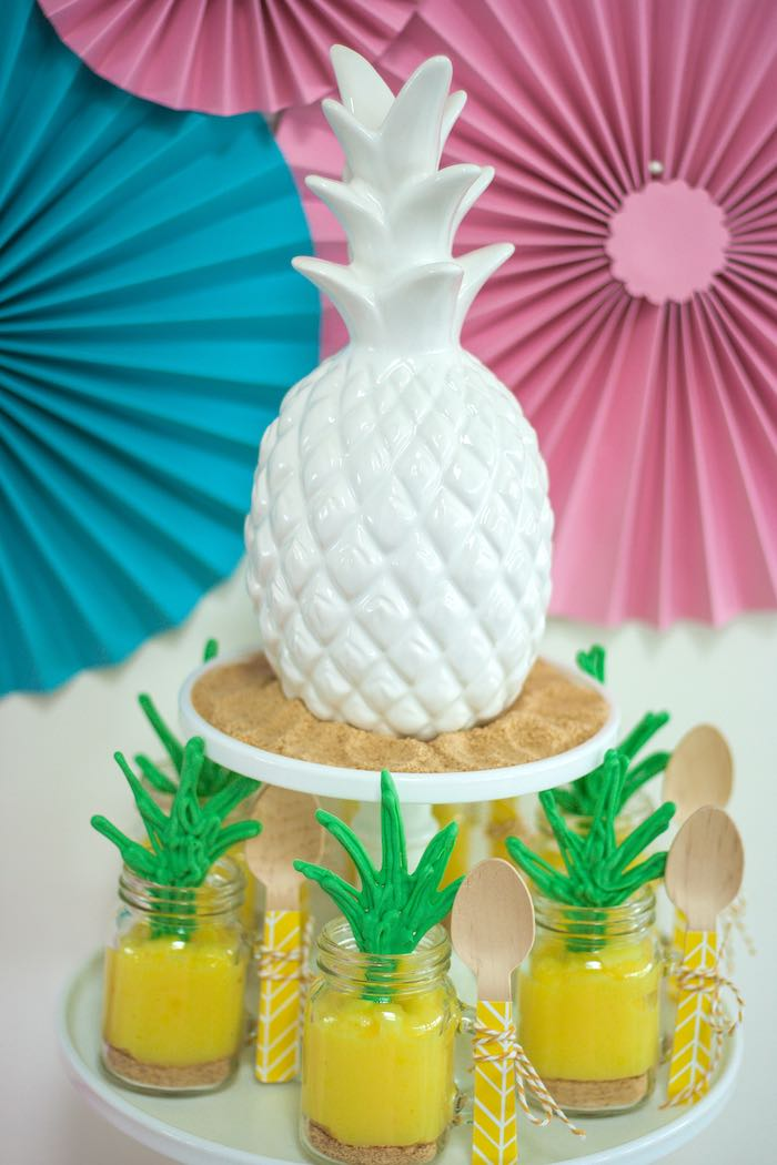 Pineapple Dessert Cups from a Let's Flamingle! Flamingo Birthday Bash via Kara's Party Ideas | KarasPartyIdeas.com | The Place for All Things Party! (34)