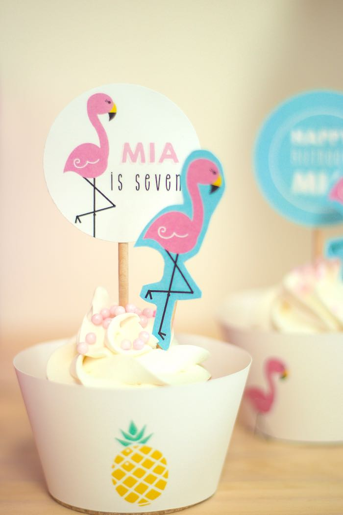 Cupcake from a Let's Flamingle! Flamingo Birthday Bash via Kara's Party Ideas | KarasPartyIdeas.com | The Place for All Things Party! (33)
