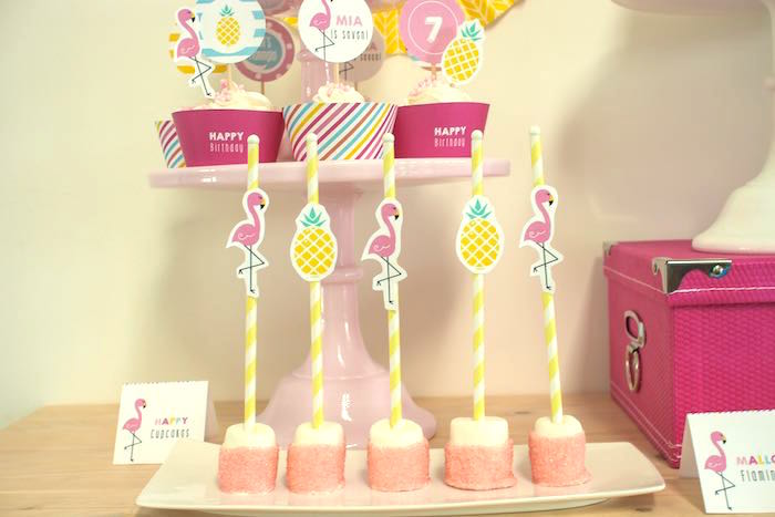 Marshmallow Pops from a Let's Flamingle! Flamingo Birthday Bash via Kara's Party Ideas | KarasPartyIdeas.com | The Place for All Things Party! (31)