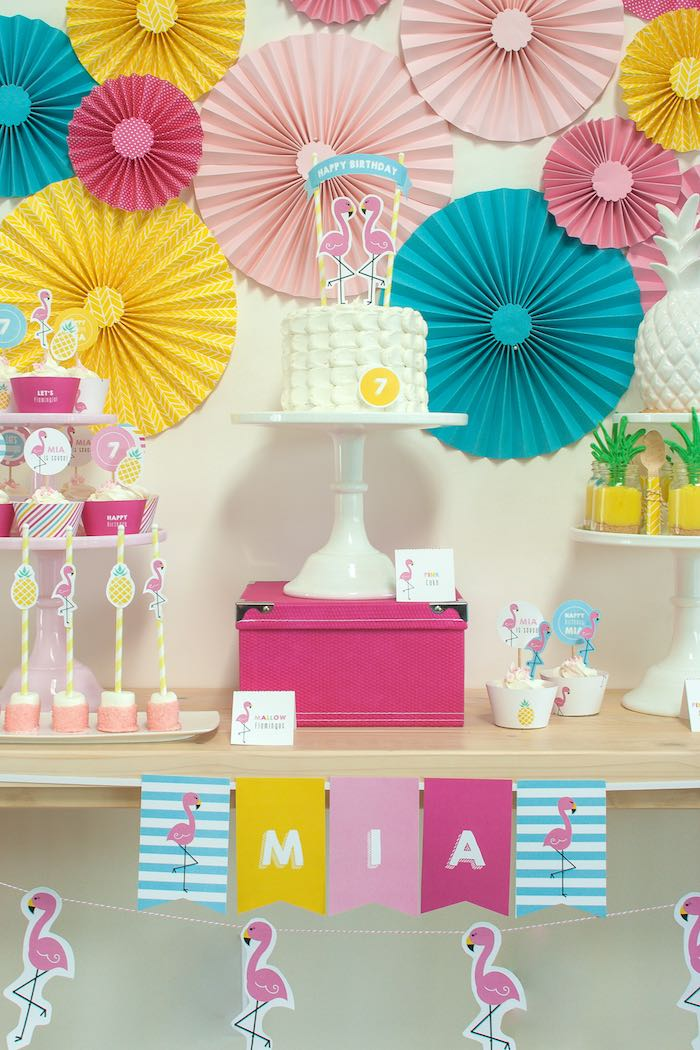 Sweet Table from a Let's Flamingle! Flamingo Birthday Bash via Kara's Party Ideas | KarasPartyIdeas.com | The Place for All Things Party! (30)