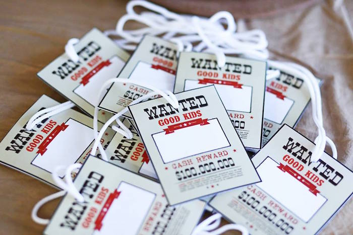 """Wanted"" Name Tags from a Little Cowboy Birthday Party via Kara's Party Ideas 