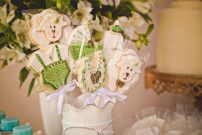 Cookies on Sticks from a Little Lamb Baby Shower via Kara's Party Ideas | KarasPartyIdeas.com (23)