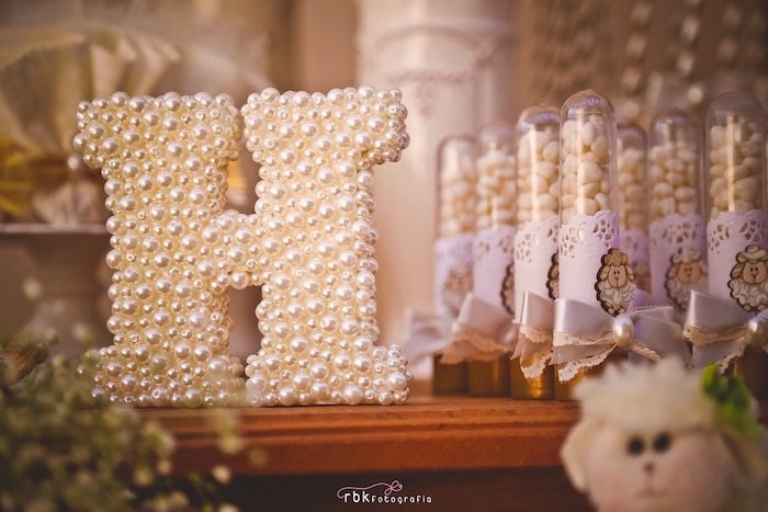 Pearl Covered Letter From A Little Lamb Baby Shower Via Karau0027s Party Ideas  | KarasPartyIdeas.
