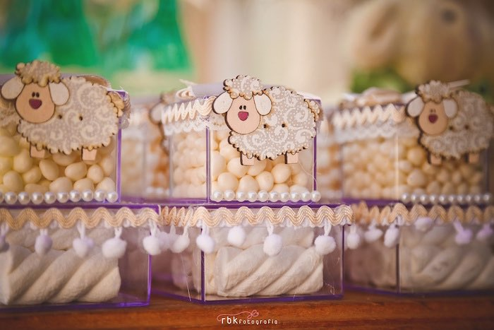 candy filled favor boxes from a little lamb baby shower via kara 39 s