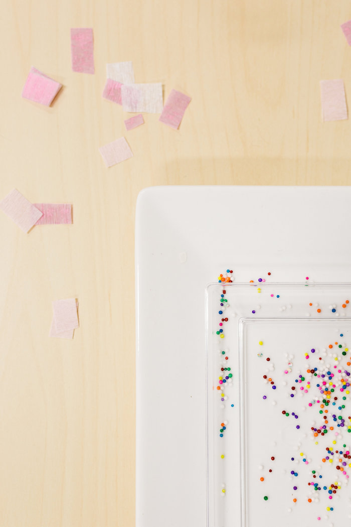 Sprinkle + Confetti covered Place Setting from a Little Sprinkles Birthday Party via Kara's Party Ideas | KarasPartyIdeas.com | The Place for All Things Party! (22)