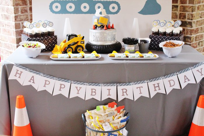 Sweet Table from a Modern Construction Birthday Party via Kara's Party Ideas | KarasPartyIdeas.com The Place for All Things Party! (18)