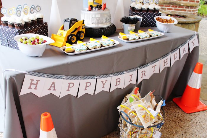 Sweet Table from a Modern Construction Birthday Party via Kara's Party Ideas | KarasPartyIdeas.com The Place for All Things Party! (17)