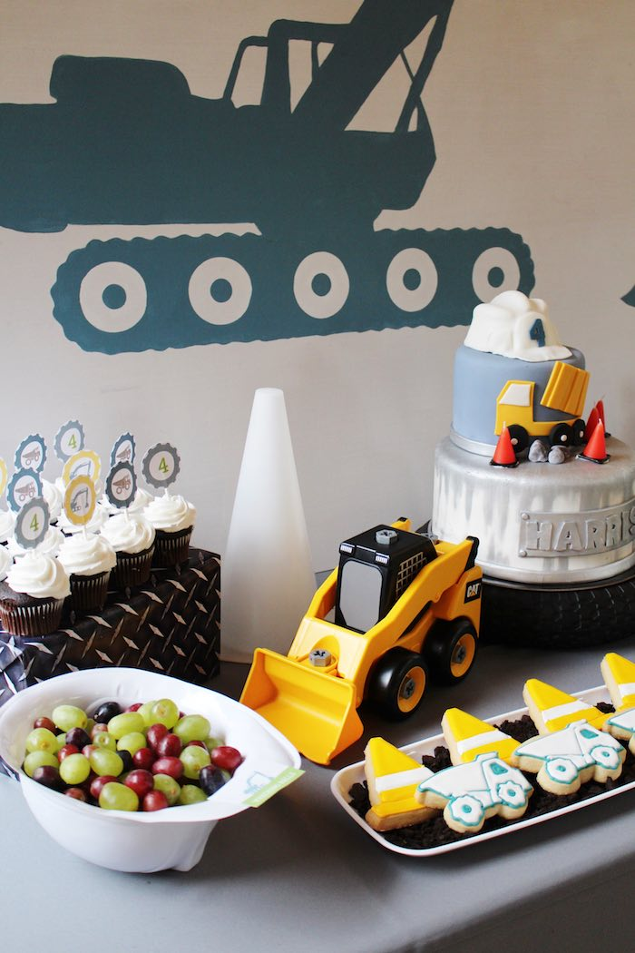Sweet Table Details from a Modern Construction Birthday Party via Kara's Party Ideas | KarasPartyIdeas.com The Place for All Things Party! (16)