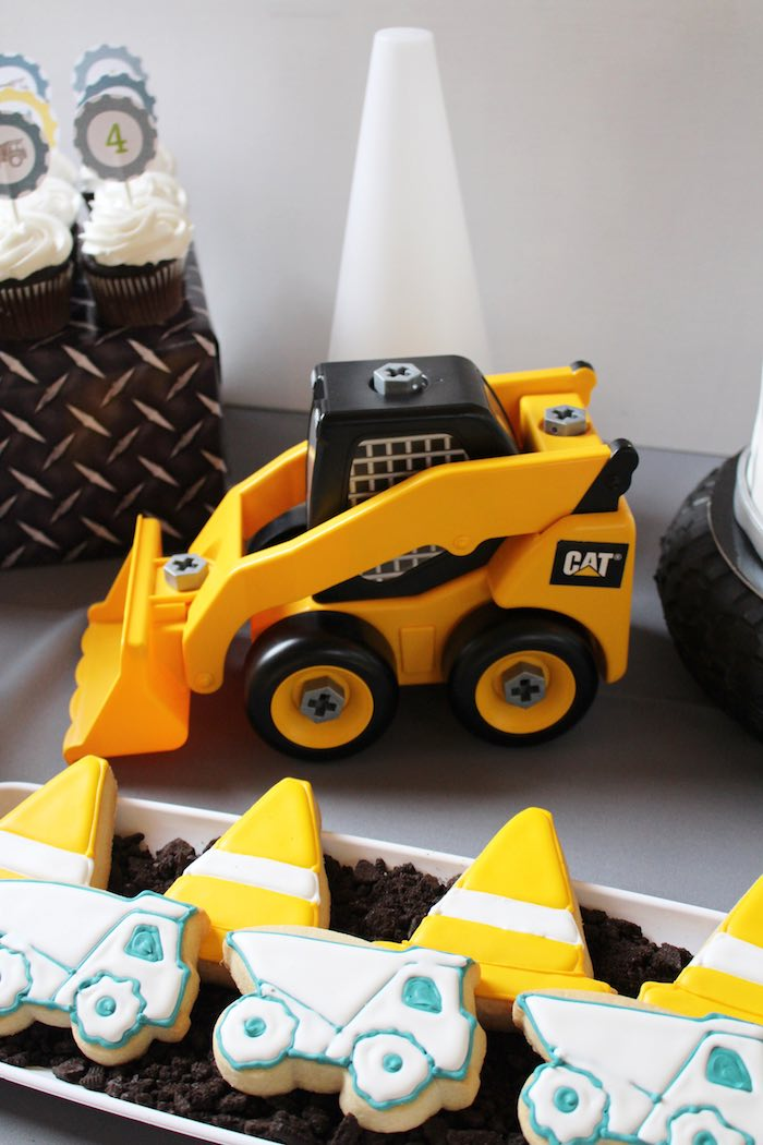 Cookies + Bobcat Toy Decor Piece from a Modern Construction Birthday Party via Kara's Party Ideas | KarasPartyIdeas.com The Place for All Things Party! (15)
