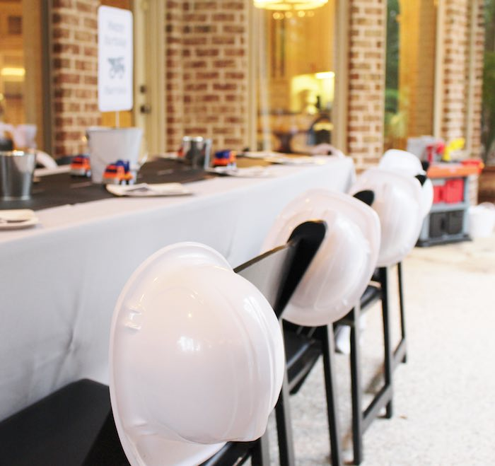 Hard Hats placed on chairs from a Modern Construction Birthday Party via Kara's Party Ideas | KarasPartyIdeas.com The Place for All Things Party! (11)