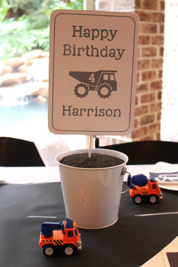 Centerpiece from a Modern Construction Birthday Party via Kara's Party Ideas | KarasPartyIdeas.com The Place for All Things Party! (8)