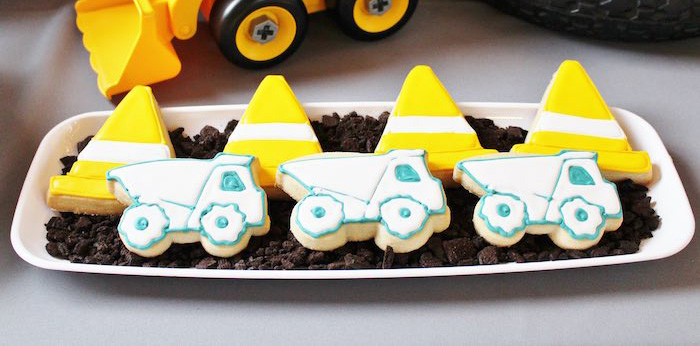 Construction Cookies from a Modern Construction Birthday Party via Kara's Party Ideas | KarasPartyIdeas.com The Place for All Things Party! (2)