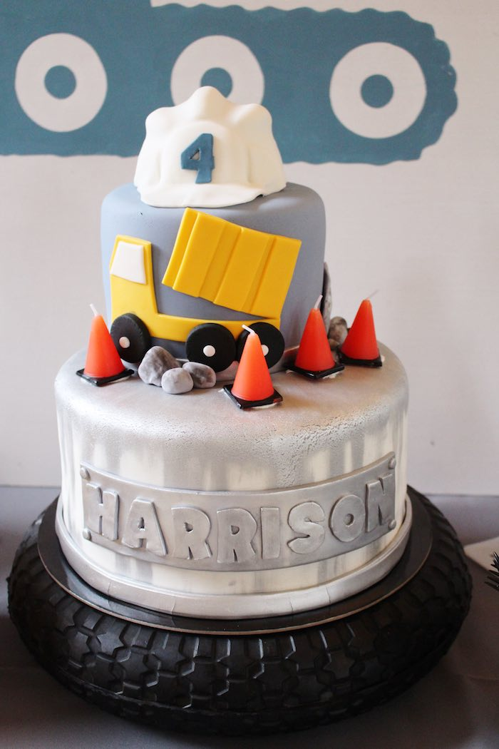 Cake from a Modern Construction Birthday Party via Kara's Party Ideas | KarasPartyIdeas.com The Place for All Things Party! (30)