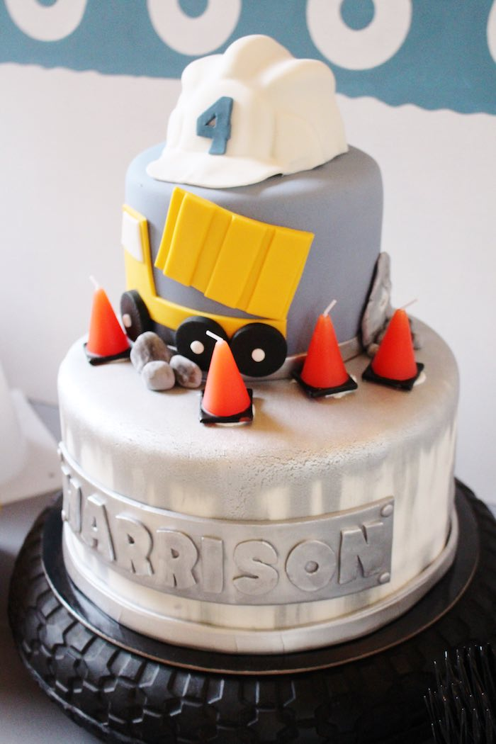 Cake from a Modern Construction Birthday Party via Kara's Party Ideas | KarasPartyIdeas.com The Place for All Things Party! (29)
