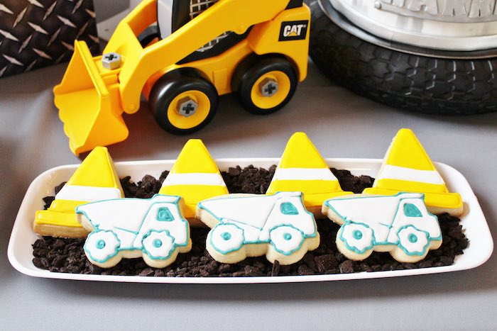 Construction Cookies from a Modern Construction Birthday Party via Kara's Party Ideas | KarasPartyIdeas.com The Place for All Things Party! (27)