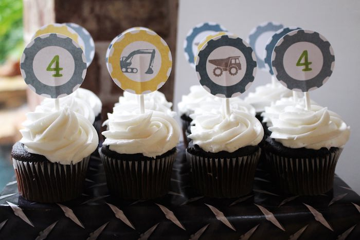 Cupcakes from a Modern Construction Birthday Party via Kara's Party Ideas | KarasPartyIdeas.com The Place for All Things Party! (26)