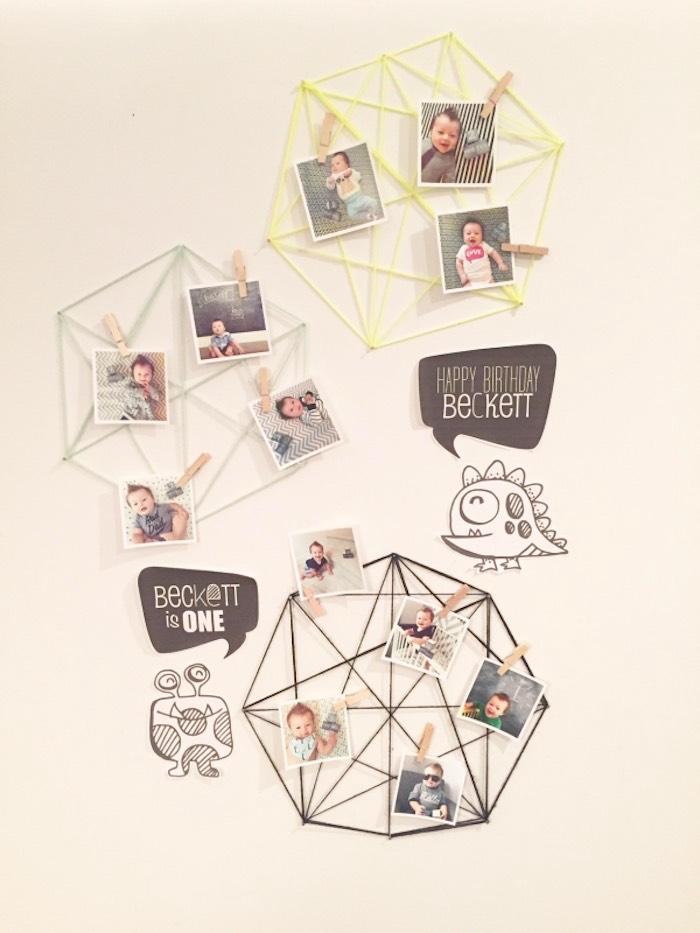 Yarn Art Photo Collage from a Modern Geometric Monster Party via Kara's Party Ideas KarasPartyIdeas.com (8)