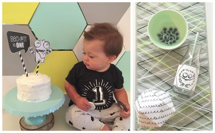 Birthday Boy + Cake + Misc. Items from a Modern Geometric Monster Party via Kara's Party Ideas KarasPartyIdeas.com (6)
