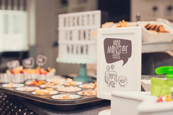 Sign + Monster Eats from a Modern Geometric Monster Party via Kara's Party Ideas KarasPartyIdeas.com (16)
