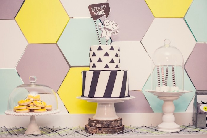 Sweet Table from a Modern Geometric Monster Party via Kara's Party Ideas KarasPartyIdeas.com (15)