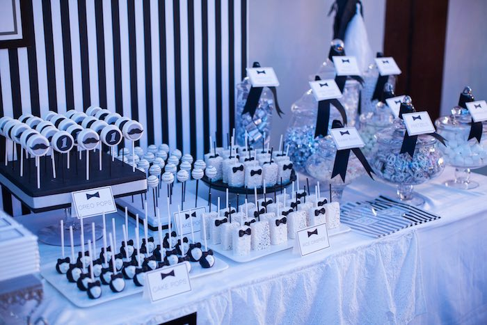 Adorable Sweets From A Monochromatic Little Man Birthday Party Via Karas Ideas KarasPartyIdeas