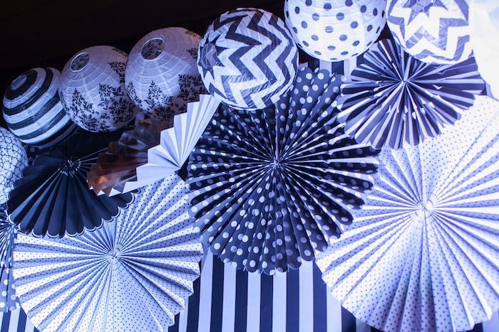 Paper Lanterns and Fans from a Monochromatic Little Man Birthday Party via Kara's Party Ideas KarasPartyIdeas.com (12)