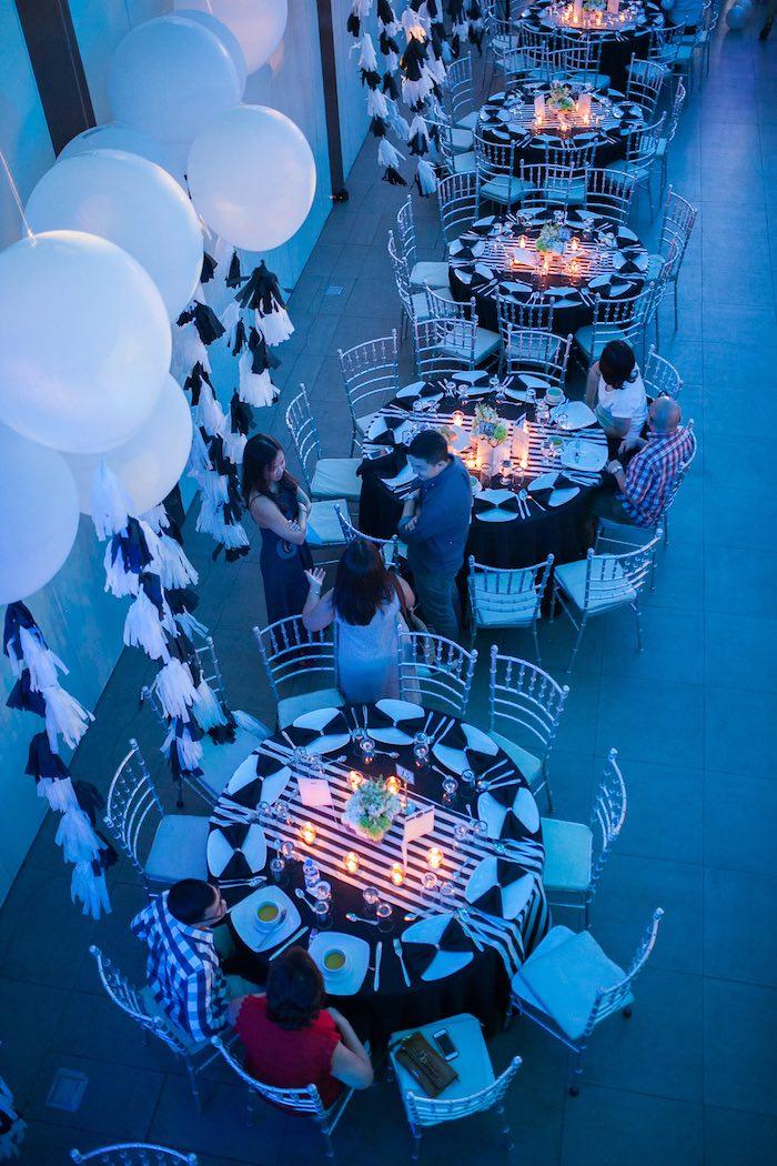Guest Tables from a Monochromatic Little Man Birthday Party via Kara's Party Ideas KarasPartyIdeas.com (4)
