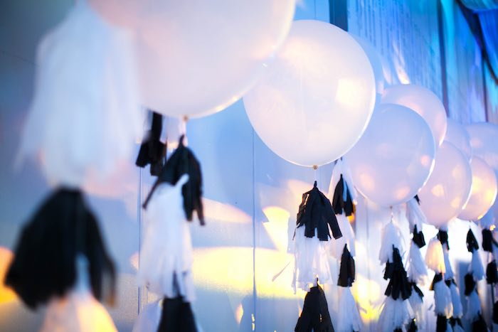 Balloons from a Monochromatic Little Man Birthday Party via Kara's Party Ideas KarasPartyIdeas.com (27)