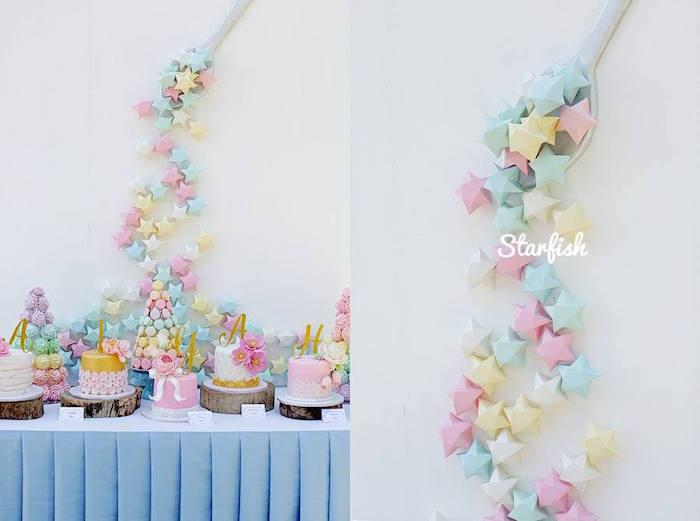 Cake + Sweet Table from a Pastel Girly Wonderland + Rainbow Birthday Party via Kara's Party Ideas KarasPartyIdeas.com (28)