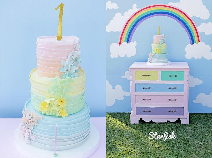 Cake + Cake Display from a Pastel Girly Wonderland + Rainbow Birthday Party via Kara's Party Ideas KarasPartyIdeas.com (27)
