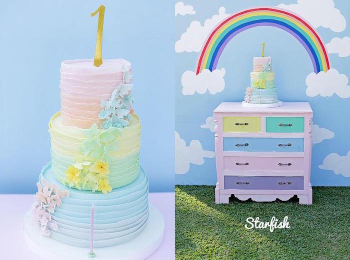 Cake + Cake Display from a Pastel Girly Wonderland + Rainbow Birthday Party via Kara's Party Ideas KarasPartyIdeas.com (27)