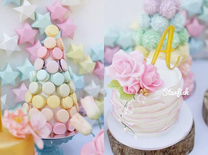 Macaron Tower + Cake from a Pastel Girly Wonderland + Rainbow Birthday Party via Kara's Party Ideas KarasPartyIdeas.com (25)