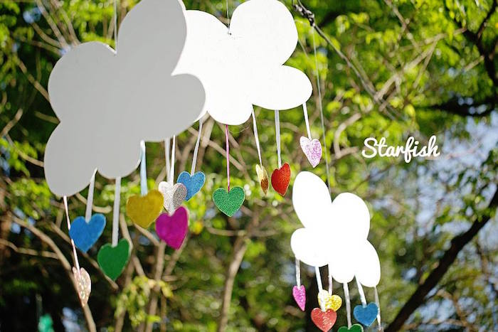 Cloud Mobiles from a Pastel Girly Wonderland + Rainbow Birthday Party via Kara's Party Ideas KarasPartyIdeas.com (24)