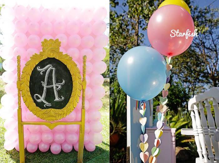 Karas Party Ideas Balloon Backdrop Decor from a Pastel Girly