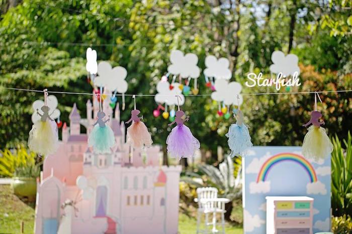 Girl + Fairy Garland from a Pastel Girly Wonderland + Rainbow Birthday Party via Kara's Party Ideas KarasPartyIdeas.com (18)